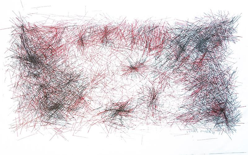 Brain I. Tinta permanente sobre tela, 208 x 355 cm, 2019. Leonel Moura