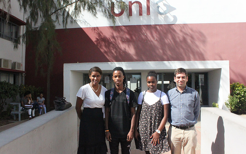 Telma Silva (Cabo Verde University Professor) Eline Pinto, Edson Moreno (Math and Engineer students ) and António Salgueiro (Coimbra University Professor)