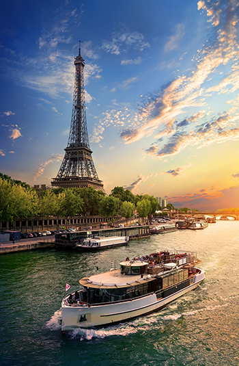 Eiffel tower on the bank of Seine in Paris, France