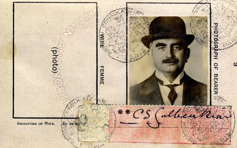 Pormenor do passaporte de Calouste Sarkis Gulbenkian © Fundação Calouste Gulbenkian