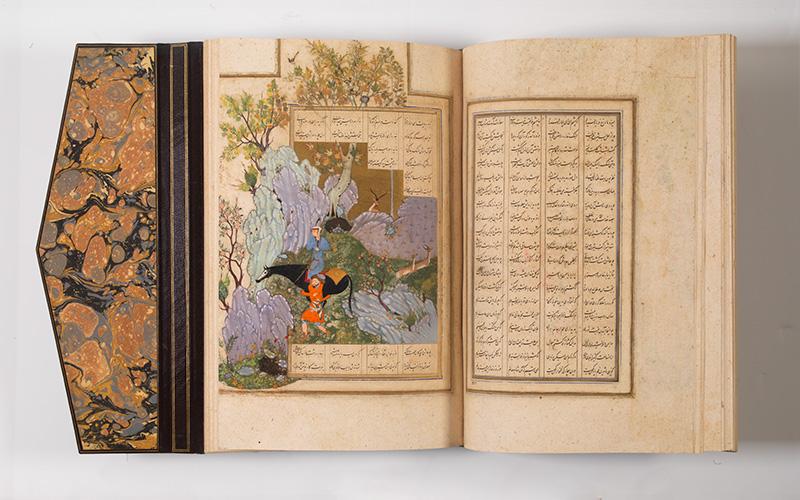 Farhad a conduzir Shirin e o seu cavalo, Khamsa [cinco poemas] por Nizami. Copiado por Muhammed Ibn Mulla Mir Al-Hosseini. Pérsia, Shiraz, período safávida, c. 1591 © Museu Calouste Gulbenkian