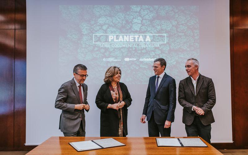 Carlos Moedas, Isabel Mota (Fundação Gulbenkian), Gonçalo Reis e Hugo Figueiredo (RTP) © Pedro Pina