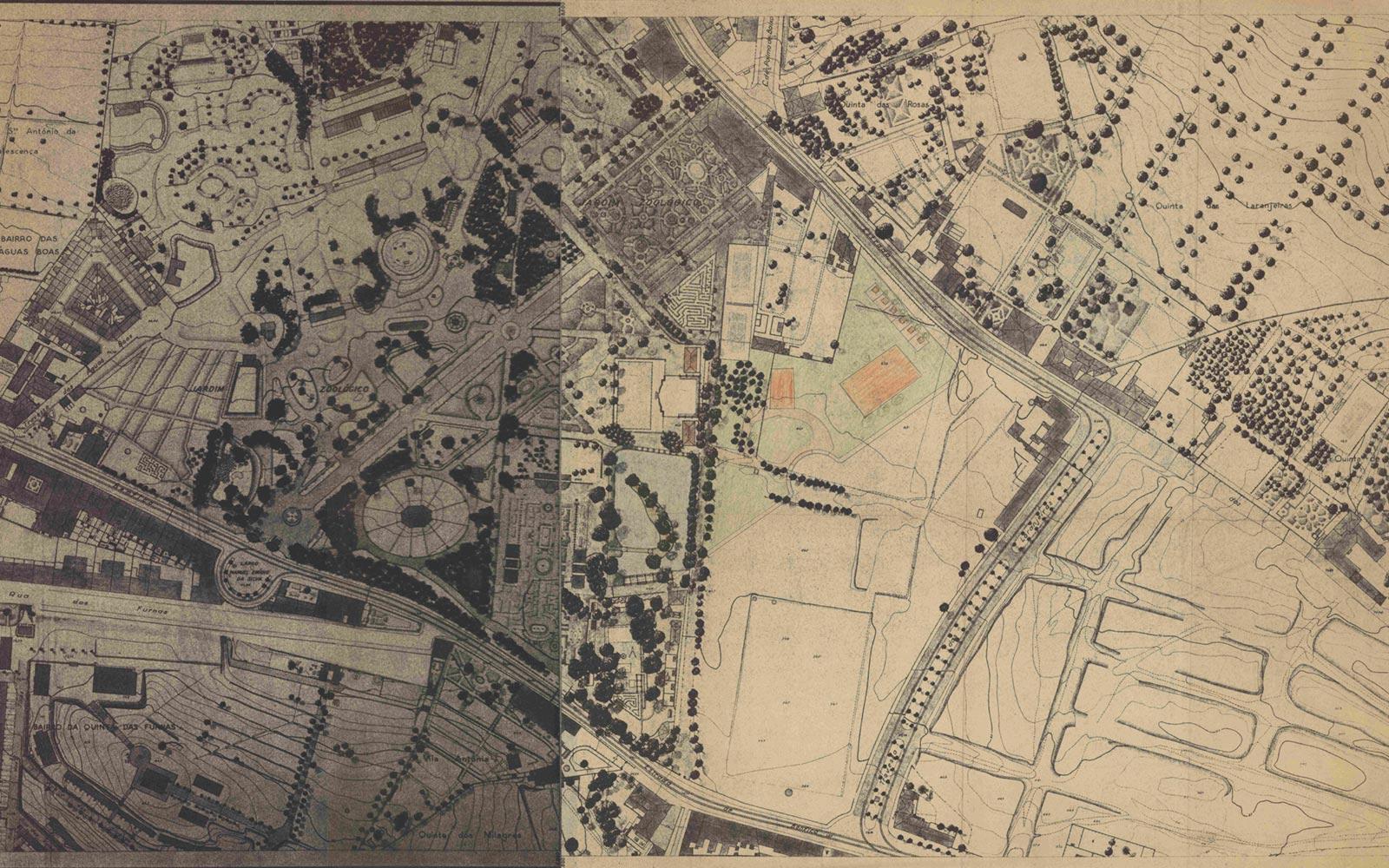 Jardim Zoológico de Lisboa : planta geral / Raul Lino, 1935-1972.