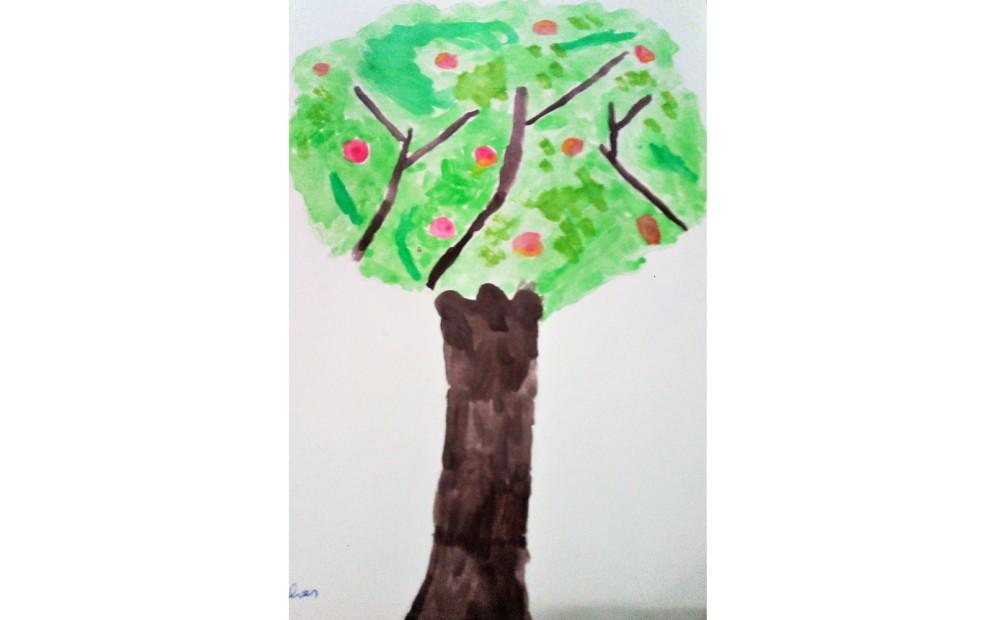 No desafio «Aguarelário II» a Joana pintou um medronheiro