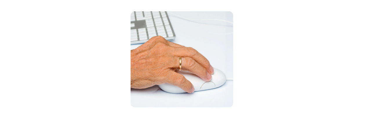 An old person using a mouse