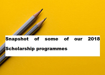 Snapshot of some of our 2018 Scholarship programmes
