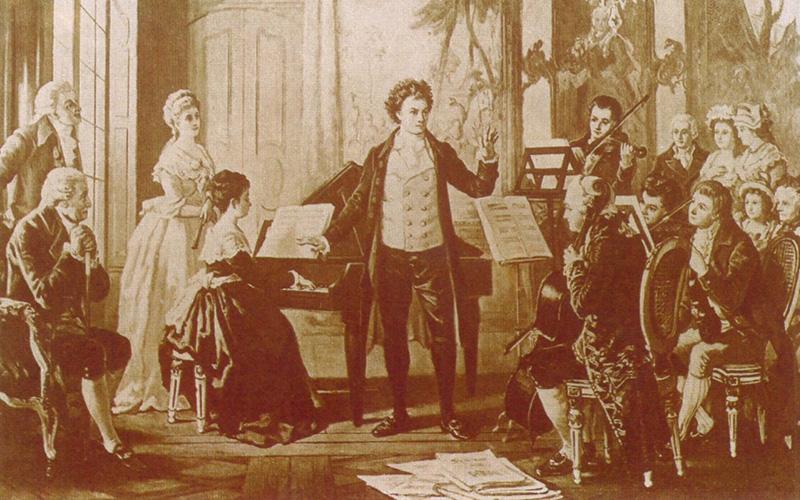Beethoven e o Quarteto Razumovsky em Viena. Gravura c. 1880 © DR
