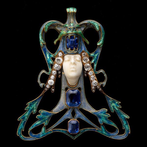 René Lalique, 'Female Face' Pendant. France, ca. 1897-98