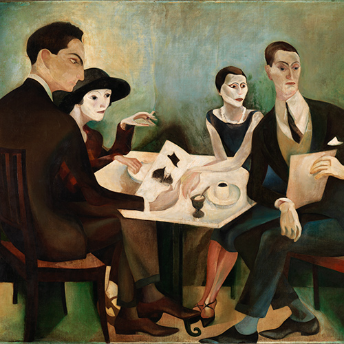 "Auto-Retrato num grupo (Pintura decorativa – Café ""A Brasileira"" do Chiado) [Self-portrait in a group (Decorative painting – ""Brasileira"" Café in Chiado)] , José de Almada Negreiros"
