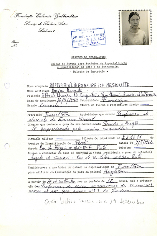 Boletim de inscrição de Marina Mesquita, 1967. Arquivos Gulbenkian.