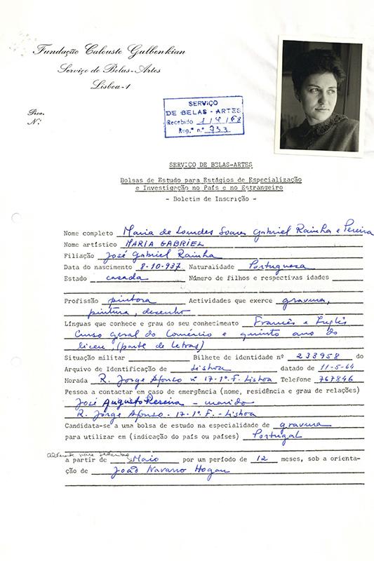 Boletim de inscrição de Maria Gabriel, 1968. Arquivos Gulbenkian.
