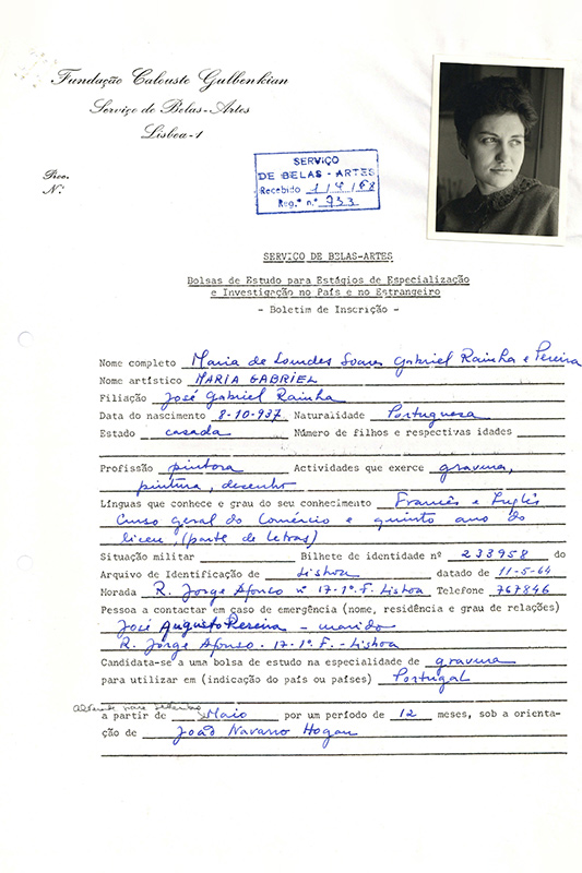 Maria Gabriel's application form, 1968. Gulbenkian Archives