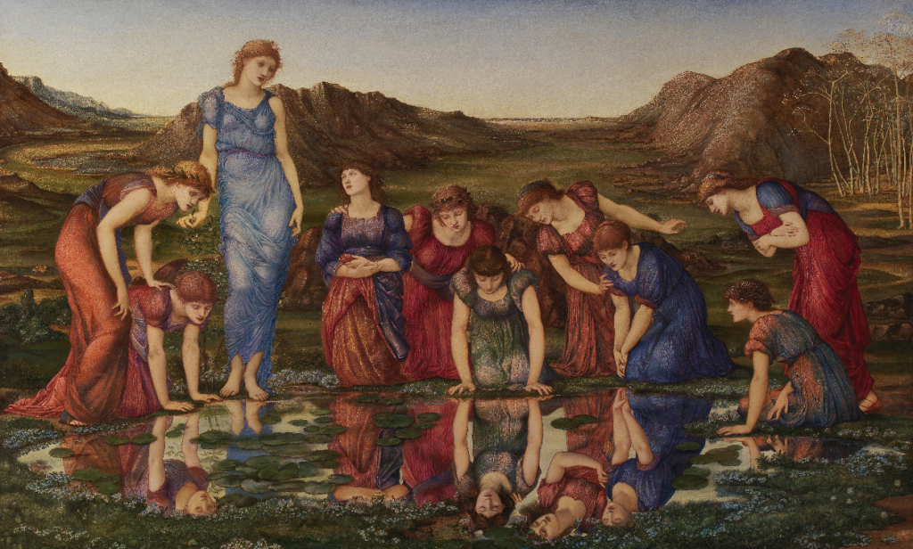Sir Edward Burne-Jones, 'The Mirror of Venus', 1877. Oil on canvas. Founder's Collection