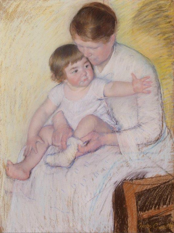 Mary Cassatt, 'The Stocking', c. 1891. Pastel. Founder's Collection