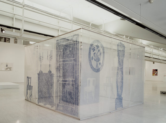Ana Vieira, 'Ambiente – Sala de Jantar', 1971. Net, ceramic dish, glass cups, stainless steel knife, CD-Rom, white paint on wood, blue spray painted nylon and painted cotton. Modern Collection