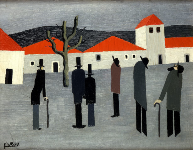 José Dominguez Alvarez, 'Houses with figures from a dream'. Oil on cardboard and canvas. Modern Collection
