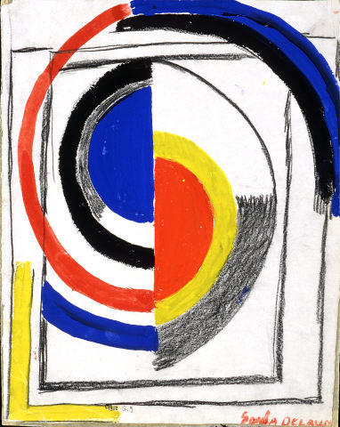 Sonia Delaunay, 'A Jour', 1965. Charcoal and Gouache on paper. Modern Collection