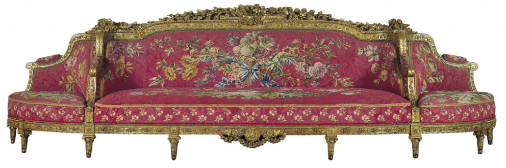 Jean-Nicolas Blanchard, Barthélémy Mamés Rascalon, 'Sofa with corner seats', 1784. Gilded walnut and beech and goldleaf; Gobelins tapestry. Founder's Collection