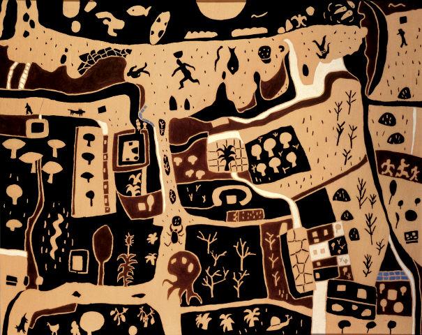 """Joaquim Rodrigo, """"Vau – Praia"""", 1982. Têmpera sobre tela. Coleção Moderna"""