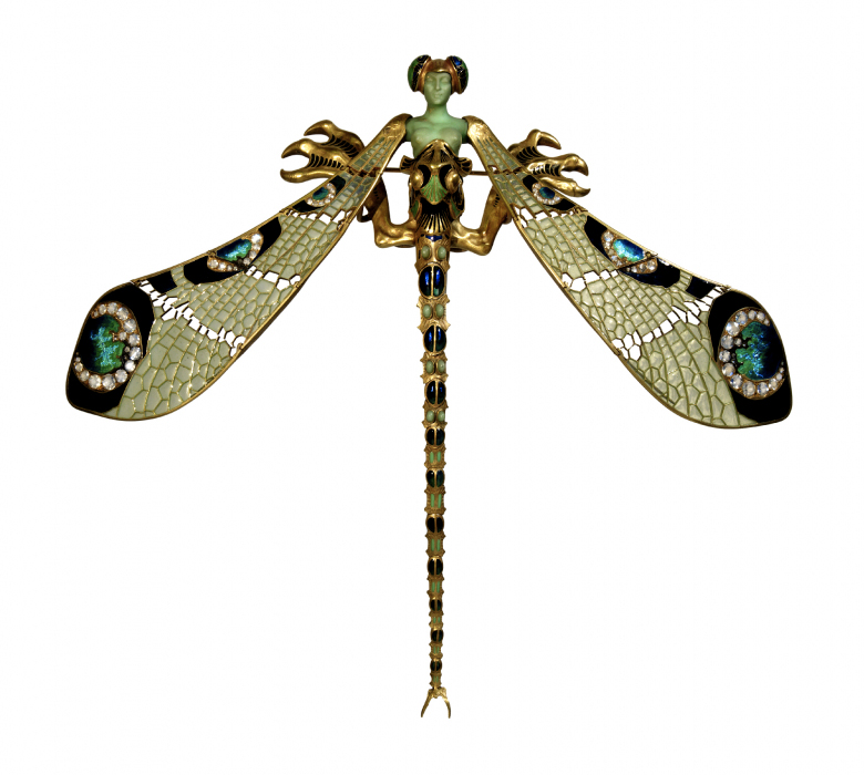 René Lalique, 'Dragonfly-woman' corsage ornament, c. 1897-98. Gold, enamel, chrysoprase, chalcedony, moonstones and diamonds. Founder's Collection