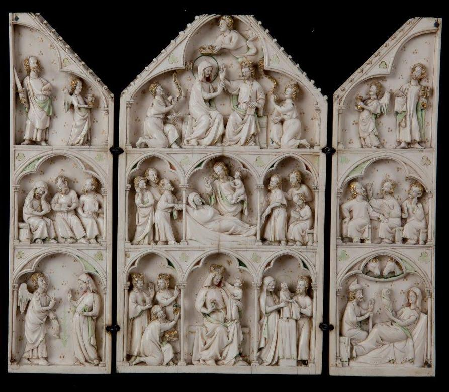 Triptych with Scenes from the Life and Death of the Virgin, c. 1325-50. Ivory. Founder's Collection