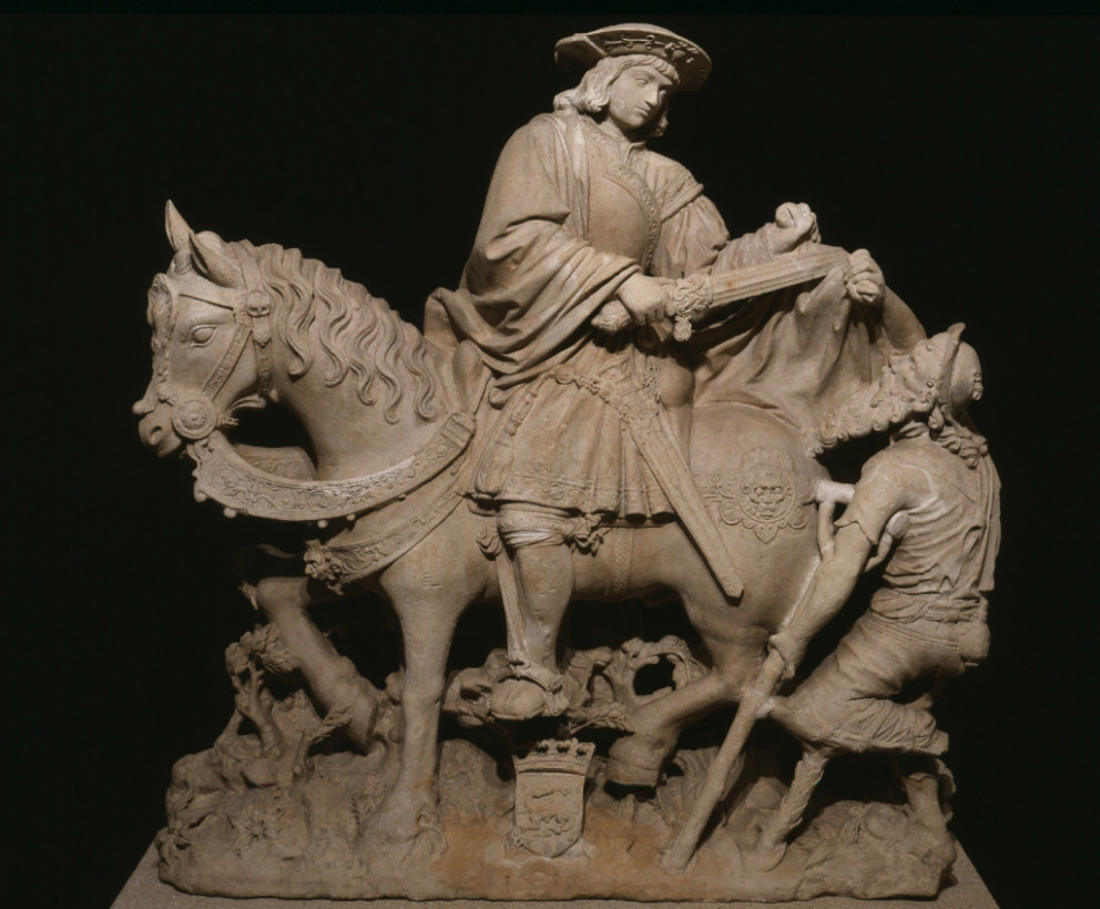 'St Martin on horseback sharing a cloak with a beggar', 1531. Limestone. Founder's Collection
