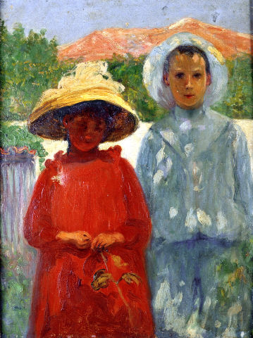 António Carneiro, 'Portrait of the painter's children', 1900. Oil on canvas. Modern Collection